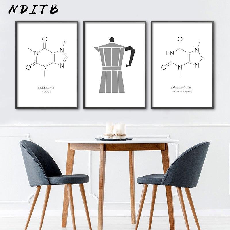 Cartel de cocina cafeína estructura Molecular química arte impresión simplicidad cuadro de pared lienzo pintura moderna decoración de comedor