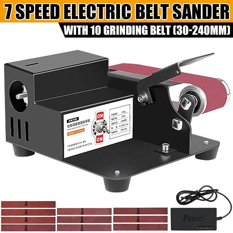 250 واط 24 فولت شريط سنفرة كهربائية صغيرة آلة الرملي 7 التروس سرعة قابل للتعديل لتقوم بها بنفسك النجارة تلميع طحن ساندر طاحونة