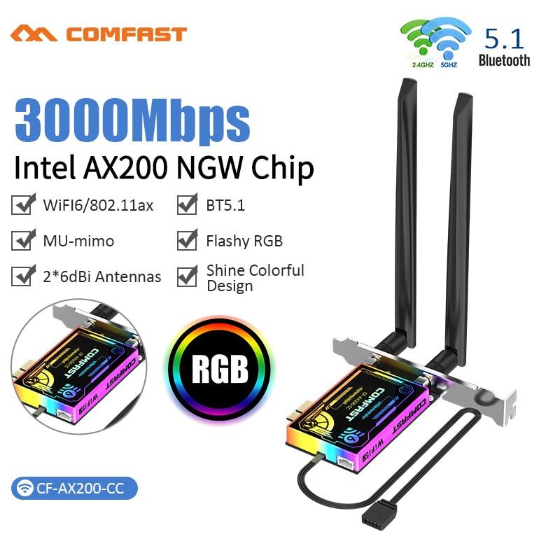 Adaptador sem Fio Express para Windows Wifi Cartão Banda Dupla 802.11ax Wifi6 Ax200 Bluetooth 5.1 Pci-e Rede Pci 10 pc 3000m