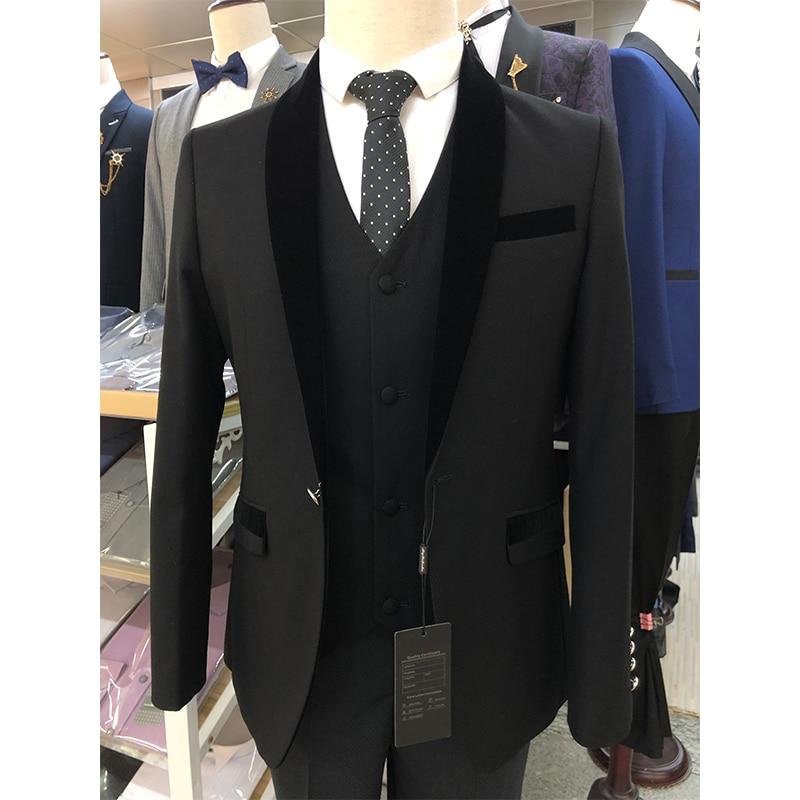 طقم من 3 ملابس رسمية للرجال مقاس أوروبي من بوند أسود بفتحة صدر على شكل شال رجالي بمنتصف الليل أزرق مقاس كبير
