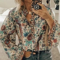 peacock t shirt floral print baggy clothes ethnic style shirt breasted stand collar harajuku oversized women shirt 5xl plus size