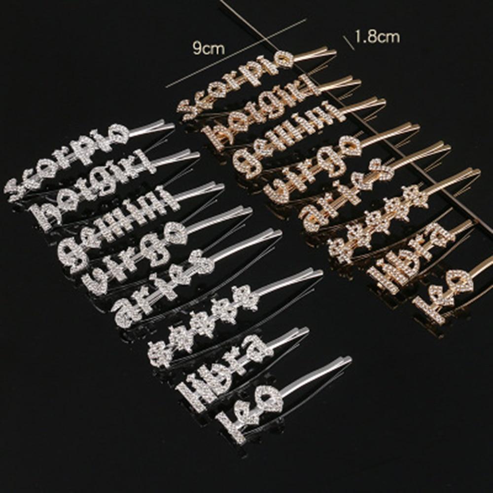 2020 pinos De Cabelo de Prata do zodíaco 12 Nova tendência Strass Pavimentada Cristal Bling Do Casamento Nupcial Styling Barrette grampos de cabelo pinos de Bobby