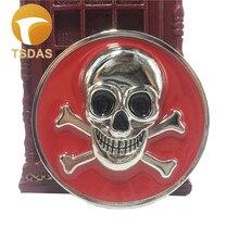 Unisex Fashion 3D Pirate Death Skull Metal Belt Buckle Western Suitable for 4cm Width Belt Red & Round Silver Men Belt Buckle