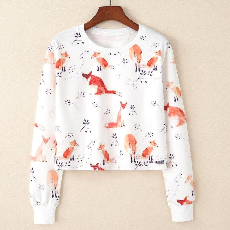 Женские футболки с принтом лисы и веток, повседневные короткие рубашки с длинным рукавом, модная базовая одежда, весна-осень