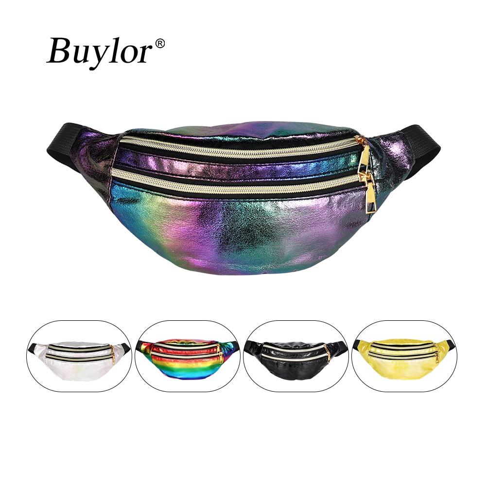 Buylor Waist Bag Laser Belt Bag Holographic Fanny Pack Designer Cute Waist Packs Bum Bag for Party, Travel
