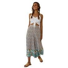 Trousers Women Loose Bohemian Elastic Waist Print Wide Leg Pants Summer Beach Wear Sexy Casual Womens Pants