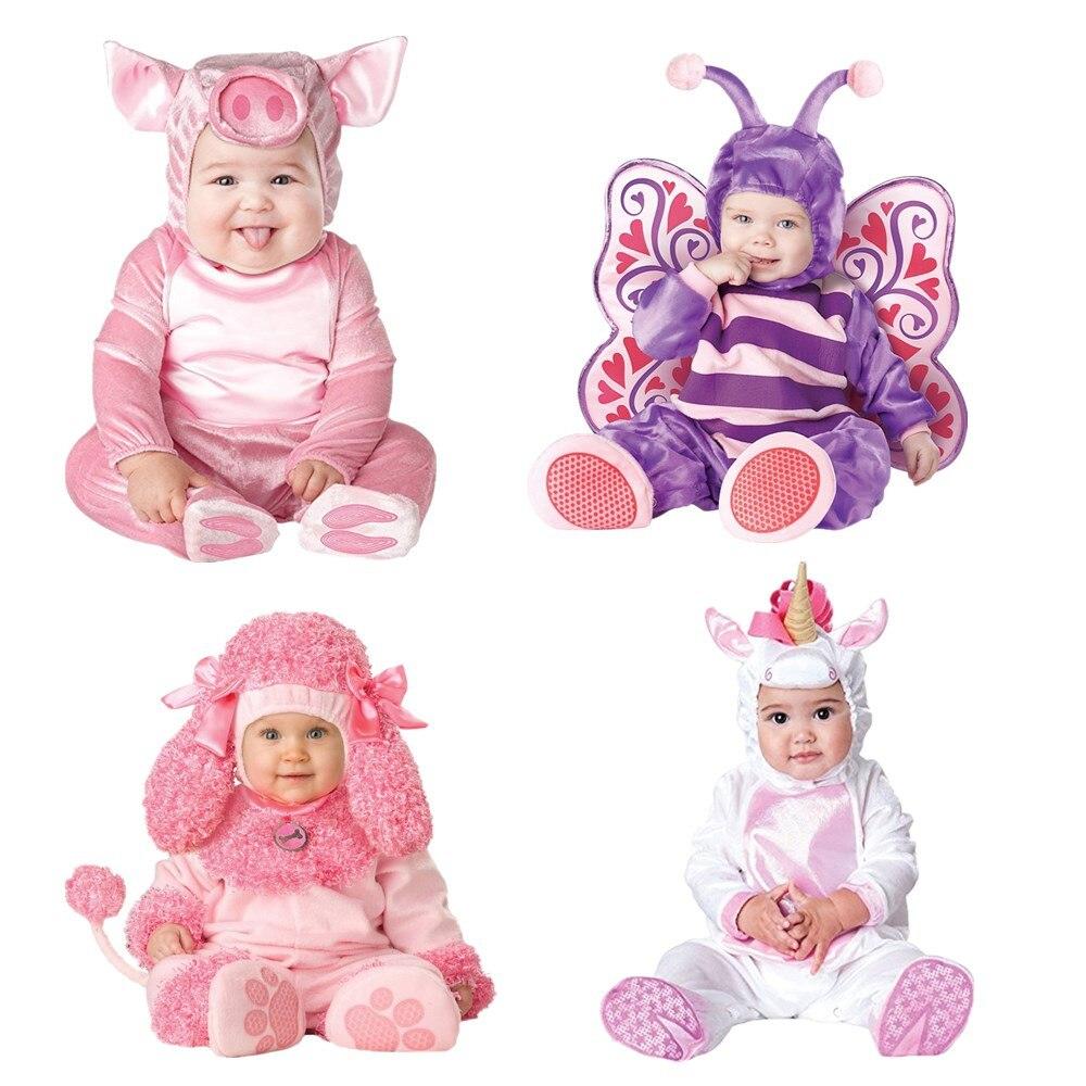 Nueva llegada de diseño disfraz de Halloween de Navidad para bebés y niños niñas cerdo y perro y pony Cosplay ropa para niños recién nacidos