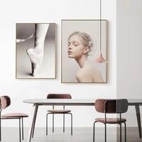 Style nordique rose fille plume impression toile peinture douce vie minimaliste Art mur affiche pour salon decor a la maison
