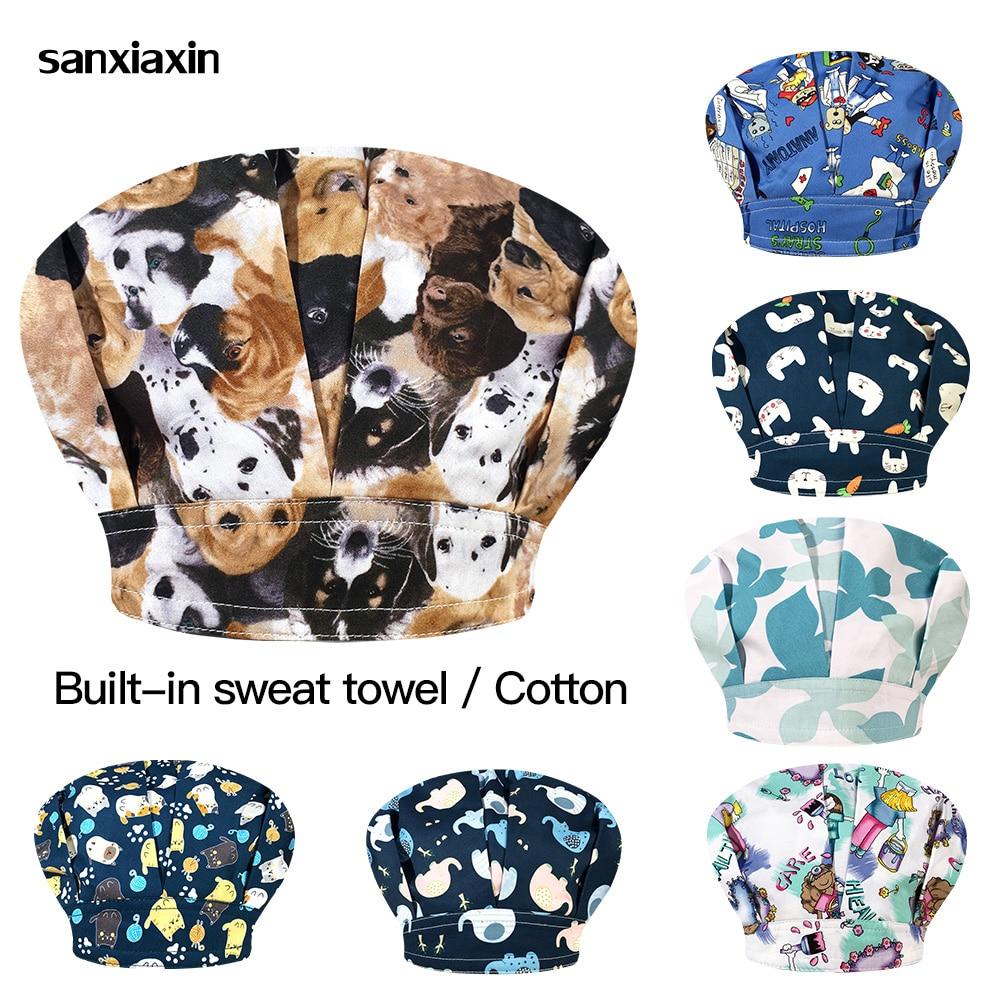 Scrubs caps with sweat-absorbent inside Unisex Cartoon printing Elastic adjustable working cap women