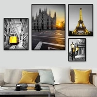 milan cathedral paris tower track tram wall art canvas painting nordic posters and prints wall pictures for living room decor