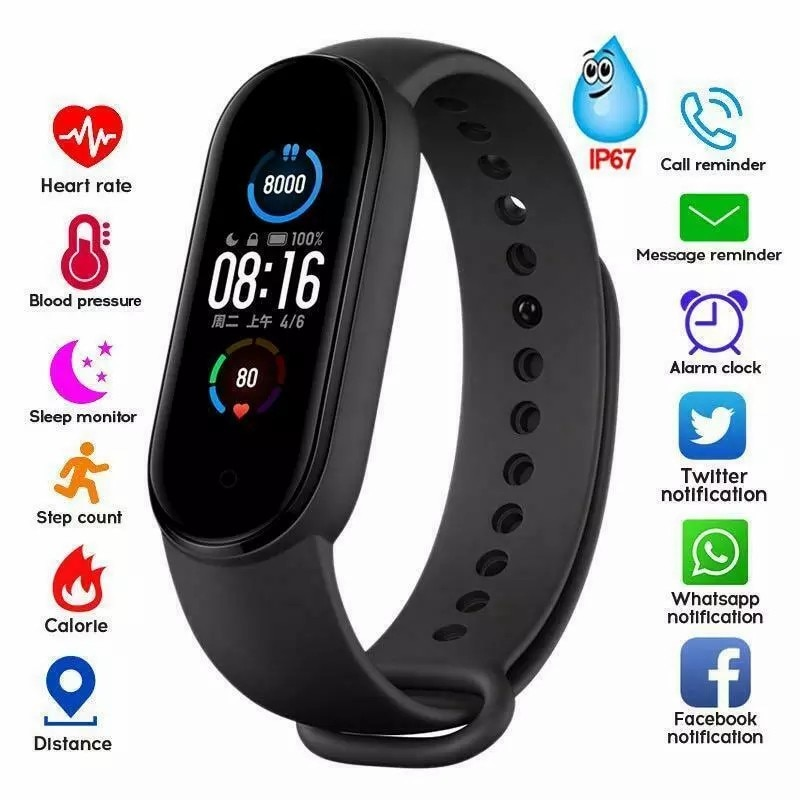 M5 Men Women Fitness Tracker Sports Smart Watch Bracelet Heart Rate Blood Pressure Monitor Health Wristband Bluetooth Smart Band