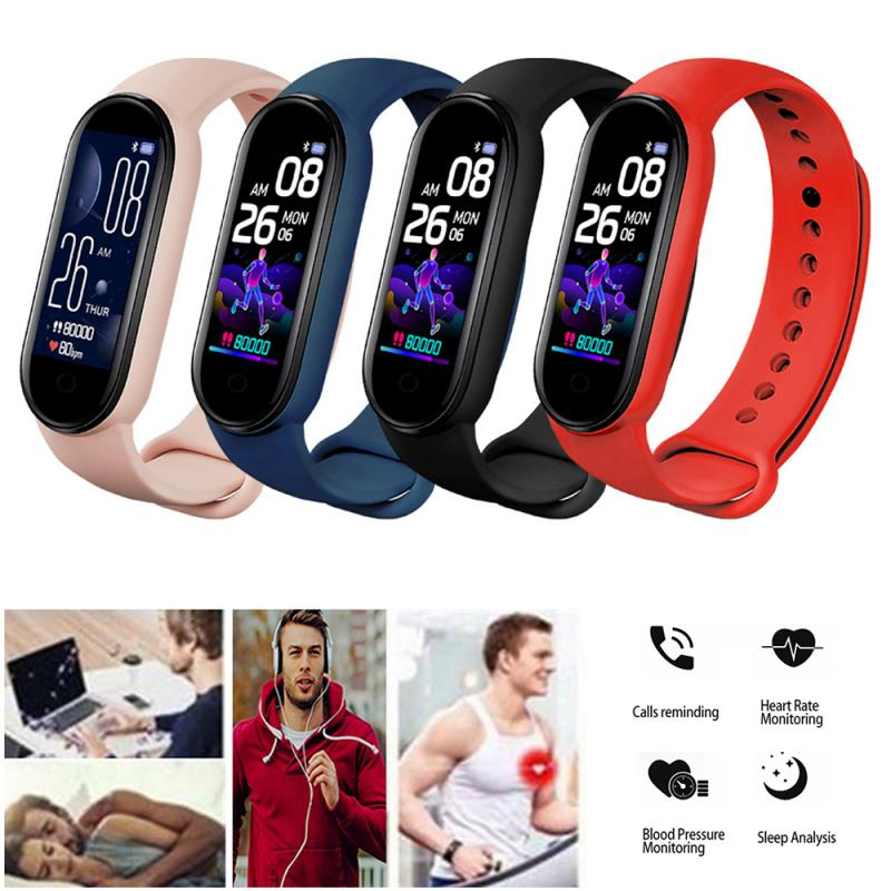 M5 Men Women Fitness Tracker Sports Smart Watch Bracelet Heart Rate Blood Pressure Monitor Health Wr
