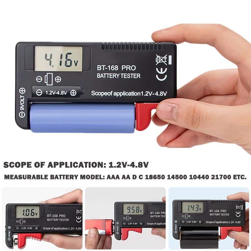 Verificador universal do volt do verificador da bateria de digitas de alta precisão display digital instrumento de medição da bateria 1.2v ~ 4.8v