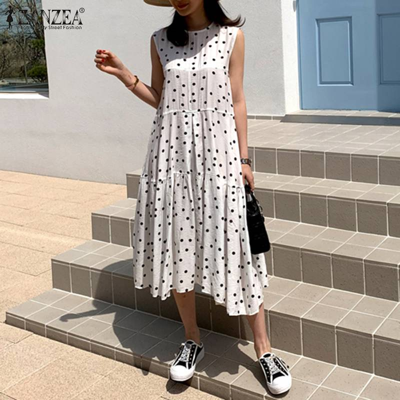 AliExpress - Women's Printed Sundress ZANZEA 2021 Fashion Summer Ruffle Dress Casual Sleeveless Tank Vestidos Female O Neck Robe Plus Size