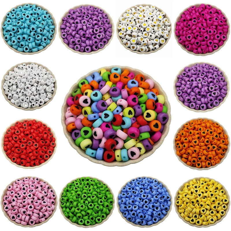 Hot Sale DIY Making Spacer Beads 7mm round Loose Beads Solid color 100PCS Acrylic Jewelry Accessories Necklace Bracelet Making 6 14mm candy color ab acrylic round beads 20 300pcs loose spacer seed beads for jewelry making handmade diy bracelet necklace