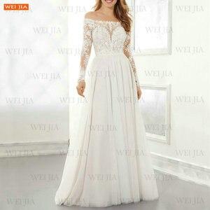 Elegant Ivory Wedding Dresses Long Sleeves 2021 Vestido De Noiva Off Shoulder Slim Fit Bride Gowns Boho Chiffon A Line Trouwjurk