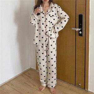 Ladies pajamas set, cotton cardigan, printed pajamas, long-sleeved trousers, two-piece comfortable and warm Homewear JJF0020
