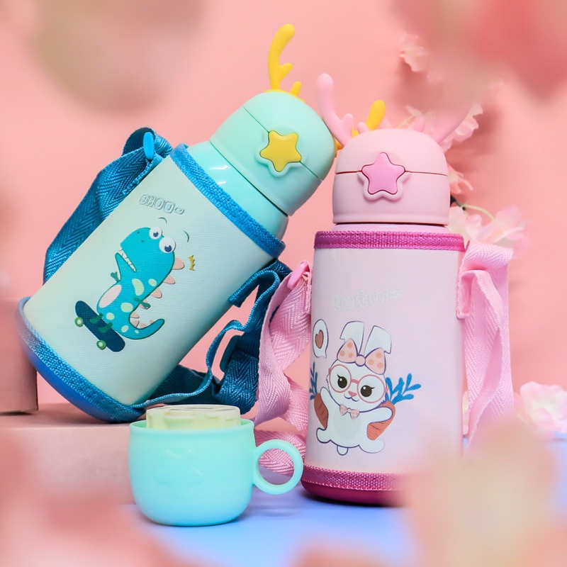 Cartoon Animal Baby Feeding Cups With Straws Cup Stainless Steel Material Leakproof Water Bottles Outdoor Portable Children Cup