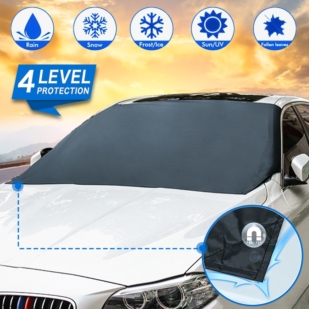 Magnetic Edges Car Sun Shade Cover Snow Cover Frost Car Windshield Snow Cover Frost Guard Waterproof Protector Car/Truck/SUV