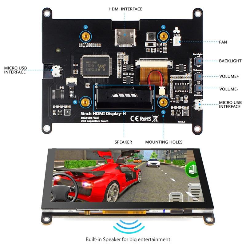 Elecrow – écran LCD Portable 5 pouces HD 800x480P, écran tactile capacitif H pour Raspberry Pi 4, nouvelle Version