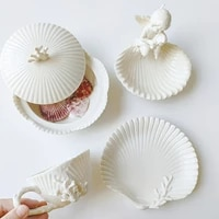 european high end vintage relief ceramic creamy white shell coffee cup and saucer afternoon tea set turkish mugs