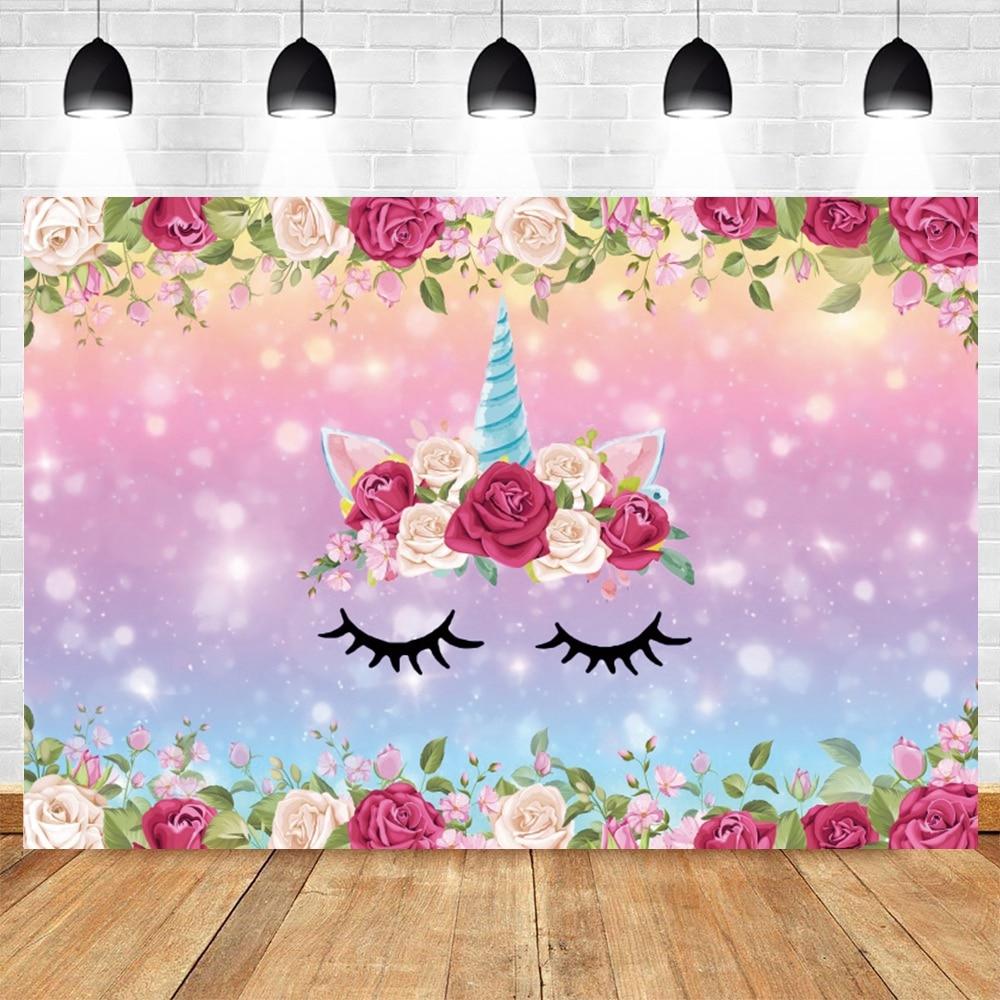 м мадера долина эдельвейсов и день рождения принцессы Розовый цветок свет единорога фоны боке для фотографий новорожденных детского дня рождения, платье принцессы на день рождения фон Виниловы...