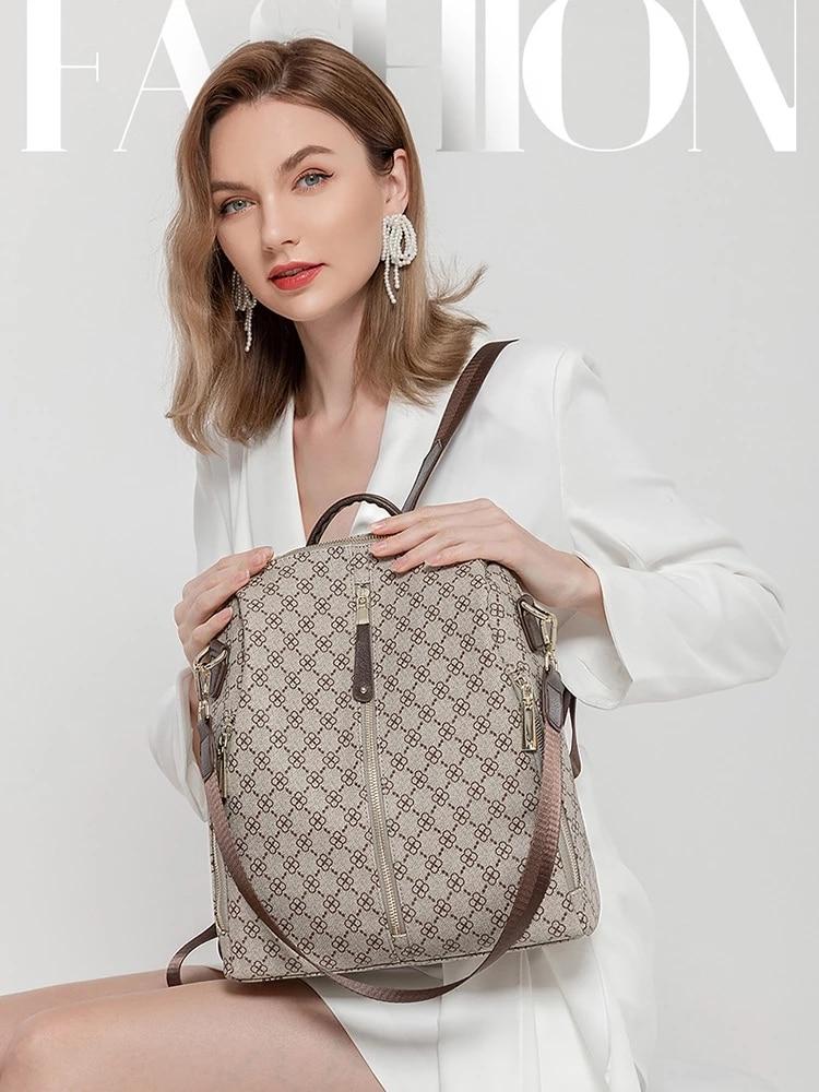 Retro girl schoolbag luxury brand printed backpack girl 2021 designer leather two shoulder bags