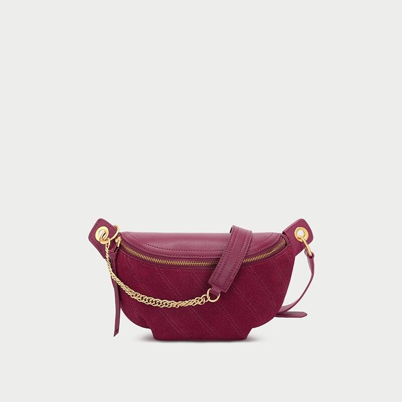 New Fashion Crossbody Bag For Women Genuine Leather Ladies Hologram Waist Bag Black  Waist Pack Chest Bag Hip Pouch