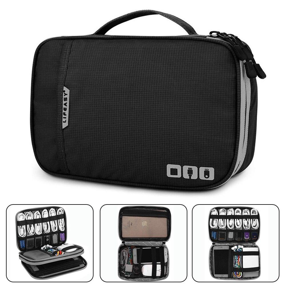 Accesorios electrónicos Thicken Cable Organizer Bag funda portátil para discos duros, Cables, carga, Kindle, iPad mini-Negro