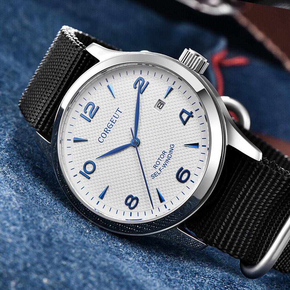ساعة رجالية ميكانيكية أوتوماتيكية 42 مللي متر من الياقوت والزجاج 8215 ميوتا ، نايلون ، جلد ، مقاومة للماء ، عصرية ، أبيض SS