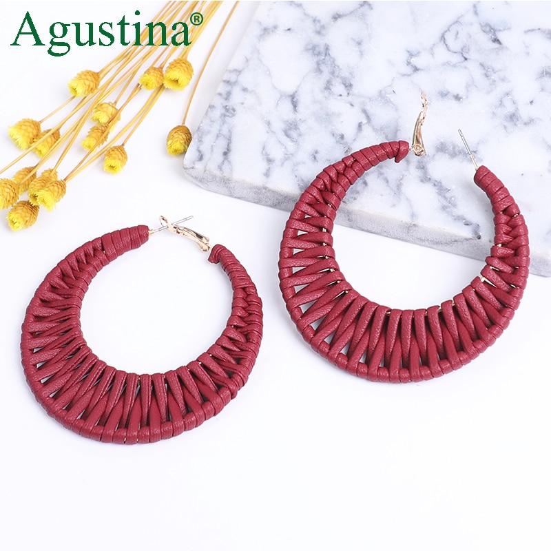 AliExpress - Agustina Hoop Leather Earrings Women Hoops Round Earrings Fashion Jewelry Luxury Red Earrings Drop Dangle Korean Earring Big CC