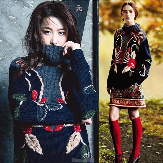 International female Aristocratic heavy industry embroidery three-dimensional manual Crochet medium long loose set head high