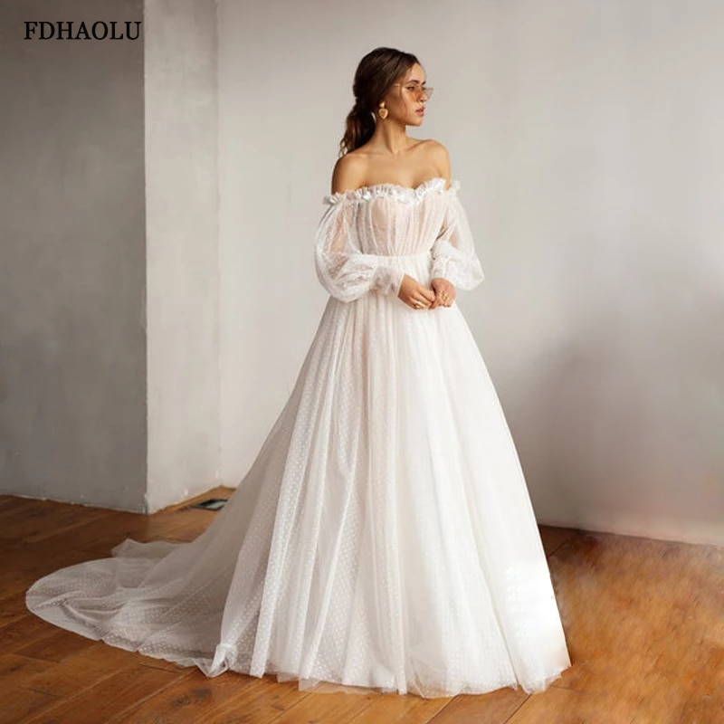 FDHAOLU FU74 بوهو فستان الزفاف نفخة الأكمام زي العرائس عارية الذراعين قبالة الكتف Vestido De Noiva Lorie فساتين الزفاف