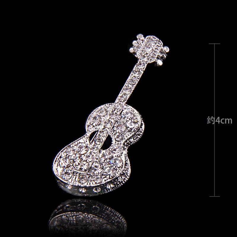 Broche de nota Musical de cristal de lujo coreano nuevo Pin de moda traje bufandas insignias para chal Pin de solapa para Mujeres Hombres regalos de joyería