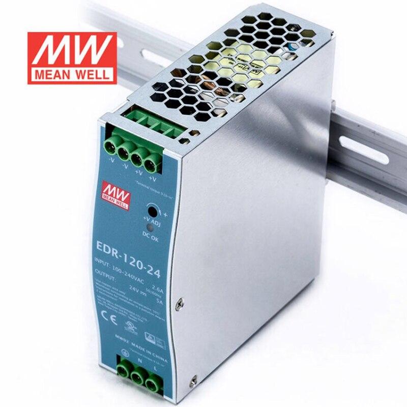 EDR-120-24 meanwell, fuente de alimentación Industrial con carril DIN, salida única, 24V CC, 5A, 120W