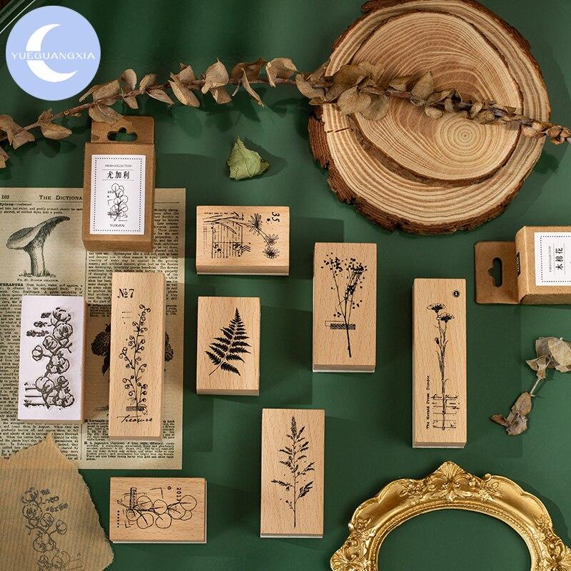 Álbum de sellos de goma madera YueGuangXia Granny Chic Plant para DIY, sello para álbum de recortes, decoración para manualidades, papelería para el hogar estándar 8 diseños