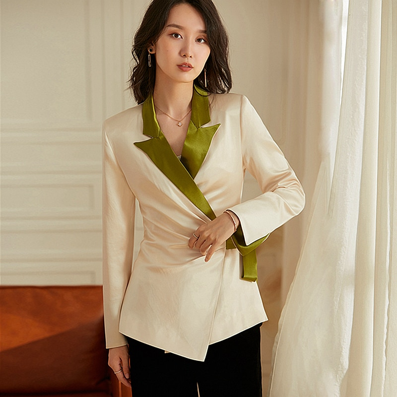 High Quality Patchwork Blazer Women 100% Acetate Fabric Simple Design Long Sleeve Sashes Suit New Fashion