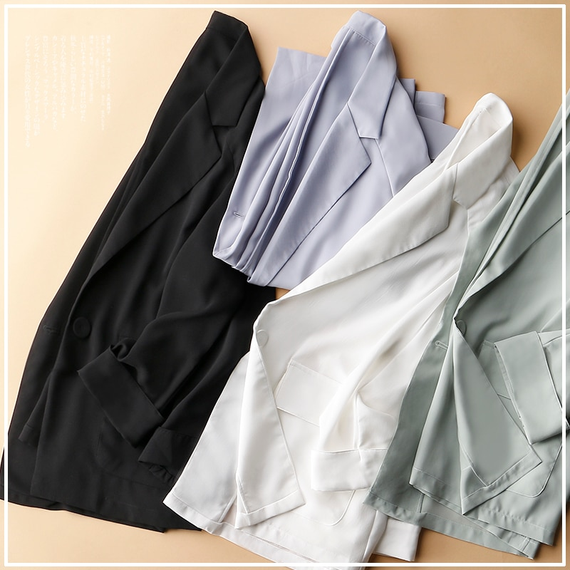 Temperamento color sólido suelto a la moda un botón Delgado delgado de alta calidad chaqueta de gasa chaqueta femenina