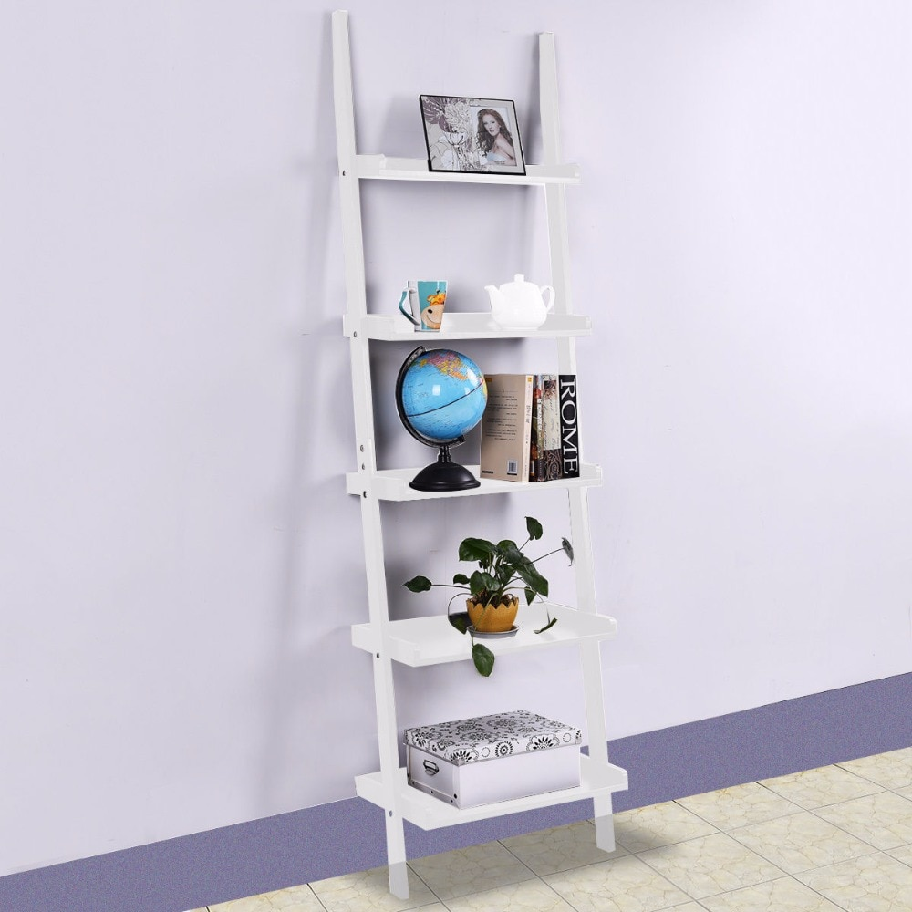 Estantería moderna para libros de 5 niveles, estantería inclinada para pared, estante, escalera, estante de almacenamiento, mueble o pared para el hogar, armario HW51811