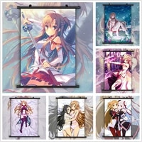 WTQ     affiches de dessin anime epee en ligne  Yuuki Asuna  affiche Manga retro  image dart mural pour decoration de salon  decoration de maison