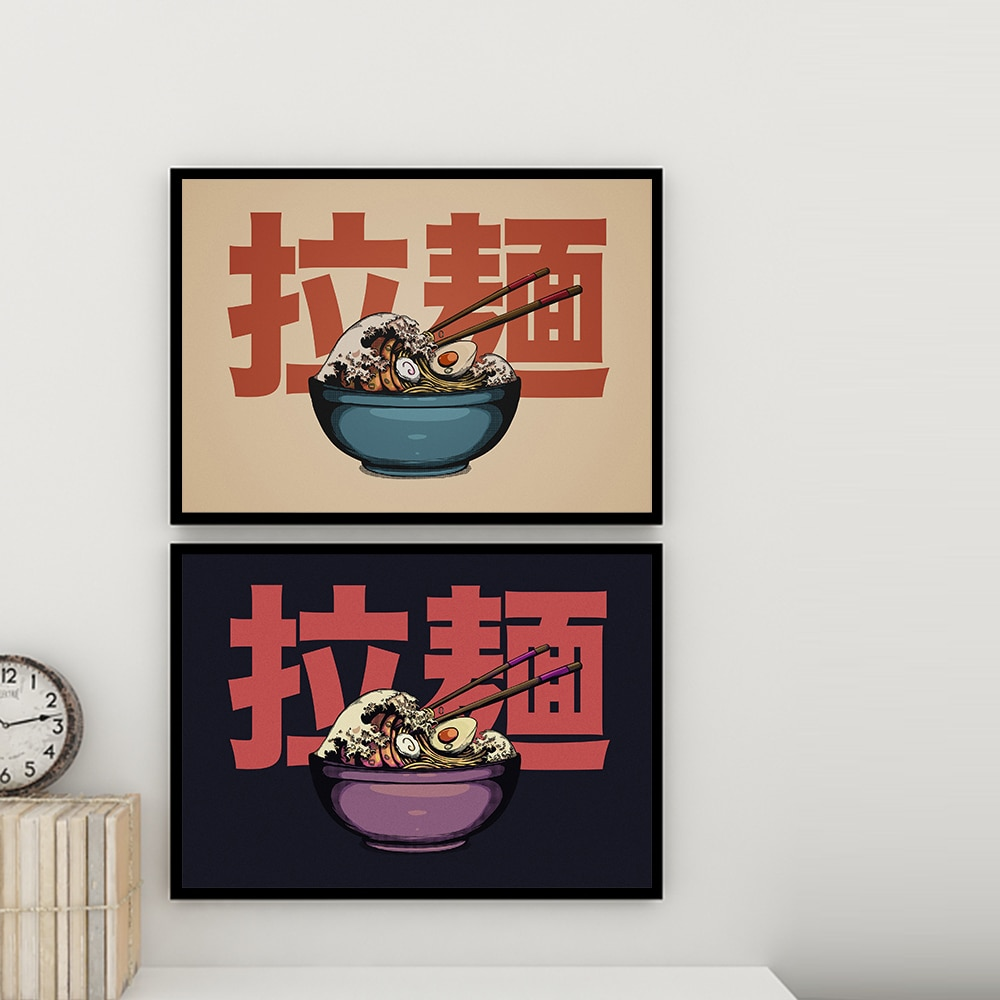 Фото - Japanese Hokusai Ramen Wall Print Pictures Vintage The Great Wave off Kanagawa Posters Art Canvas Painting Kitchen Shop Decor paget rhiannon hokusai
