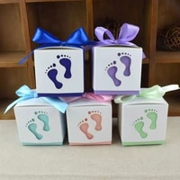 2050100pcs baby foot candy box baby shower carriage paper sweet bag footprints party favor boxes baptism container gift box