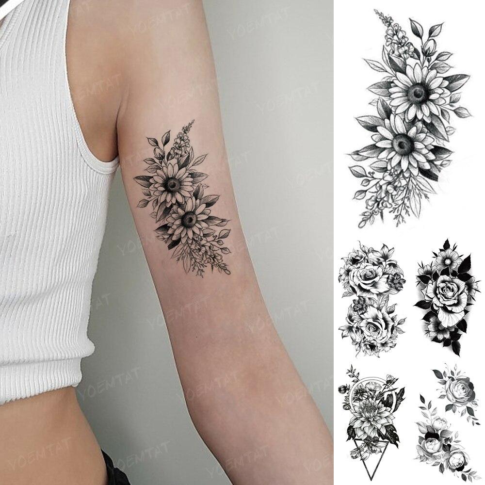 Водостойкая Временная тату-наклейка, женщина, черный сексуальный цветок, Подсолнух, пион, роза, флэш-тату, мужская линия, боди-арт, искусстве...