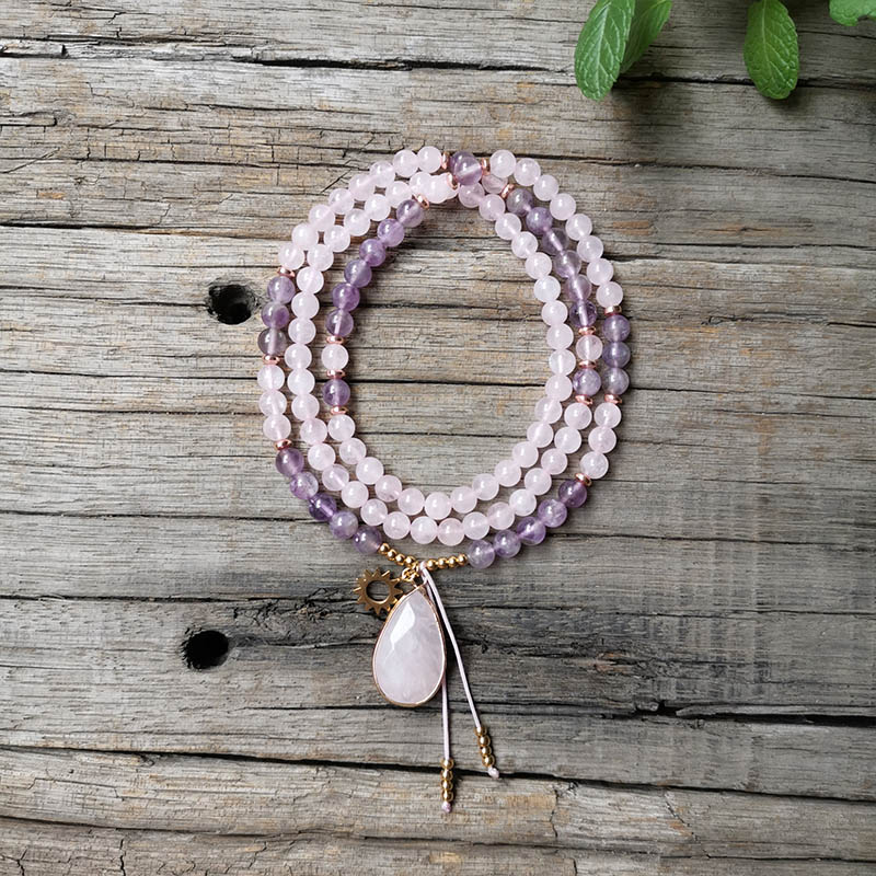 Cuentas de piedra Natural de 6mm, amatista, cuarzo rosa, Sol bonito, Mini conjuntos de JapaMala, joyería espiritual, meditación, inspiración, Mala 108