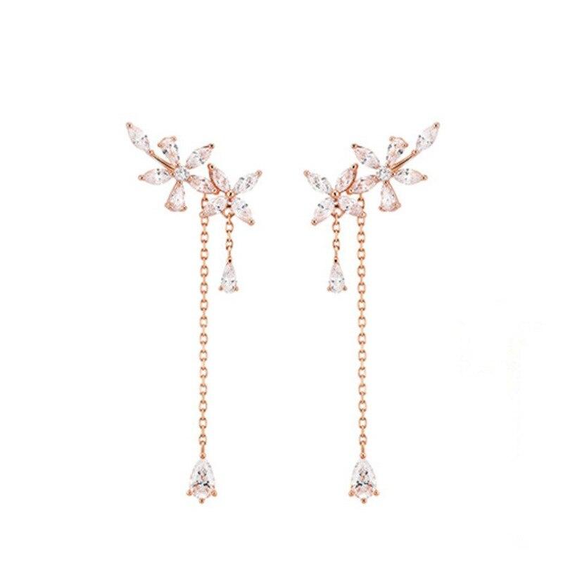 2021 New Fashion Women Korean TV Star Cute Zircon Flower Drop Earrings Elegant Water Drop Long Line Pendientes Jewelry Girl Gift  - buy with discount