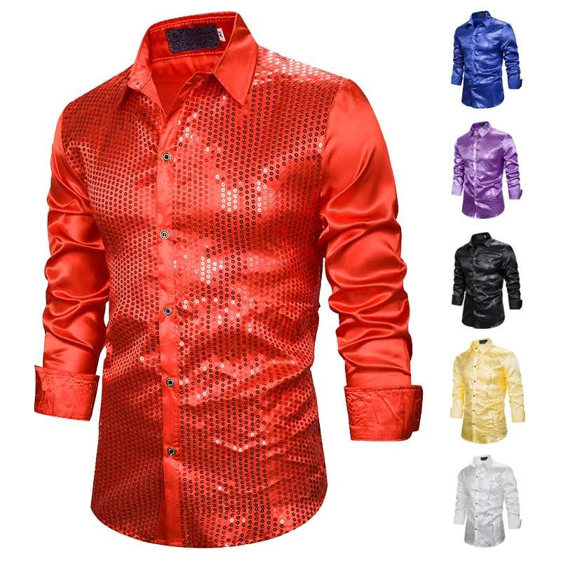 Mens Sequin Shirts New Bright Nightclub Wear Stage Show Prom Dance Camisa Social Male Slim Fit Long
