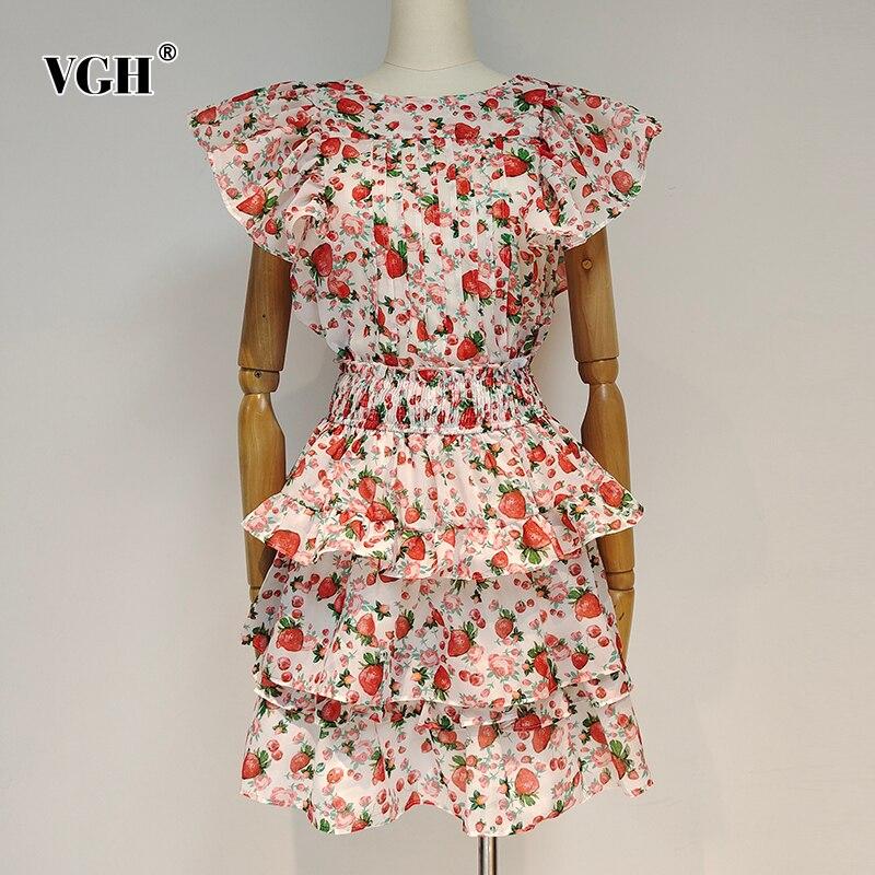 VGH الأحمر طباعة Vintage قطعتين مجموعة للنساء س الرقبة تحلق كم عالية الخصر المرقعة تنورة ضرب اللون مجموعات الإناث 2021 جديد