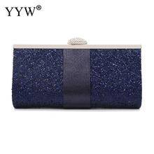 Sac Design en pochette pour femmes, boîte à paillettes bleu, pochette à paillettes pour portefeuille Long pour soirées, mariage, bal, sac à main
