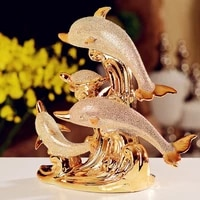 european style ceramics dolphin figurine statue home living room decor crafts sculpture creative gifts modern desktop ornament