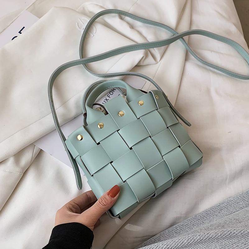 Weave Mini PU Leather Bucket Crossbody Bags For Women 2021 Summer Y2K Branded Luxury Shoulder Handba